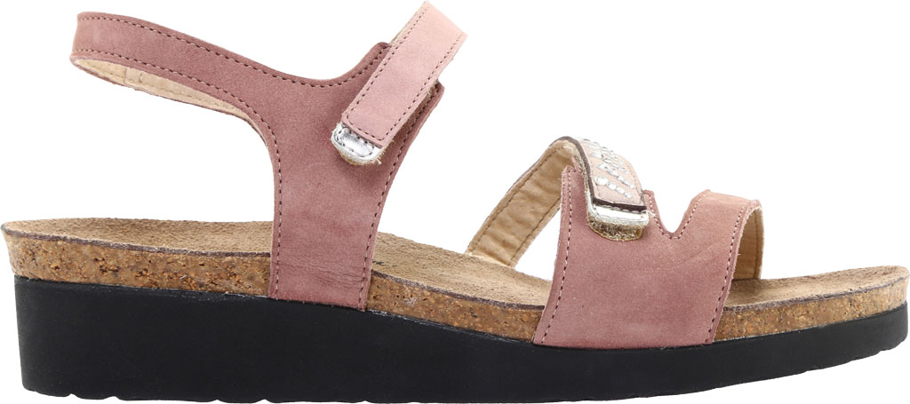 Women's Naot Kendall Strappy Wedge Sandal, Mauve Nubuck/Silver Mirror Leather, large, image 2