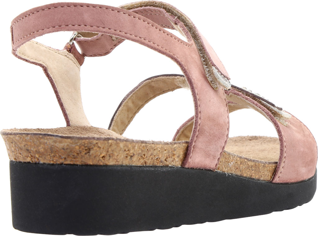 Women's Naot Kendall Strappy Wedge Sandal, Mauve Nubuck/Silver Mirror Leather, large, image 4