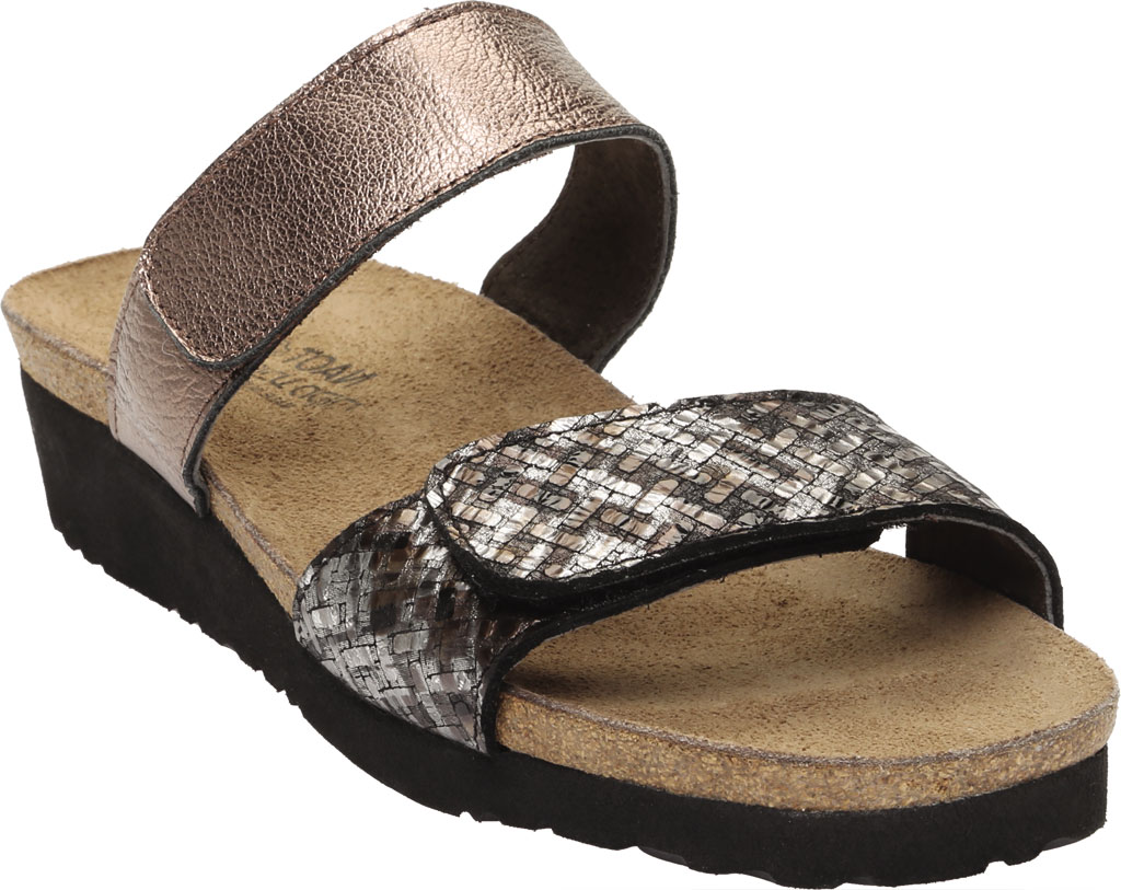 Women's Naot Althea Wedge Slide, Mixed Metallic Leather/Radiant Copper, large, image 1