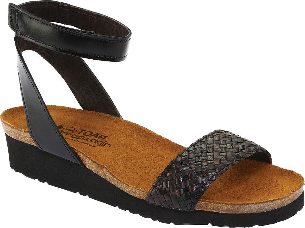 Women's Naot Abbie Ankle Strap Wedge Sandal, Black/Dark Brown Multi Braid/Madras Leather, large, image 1