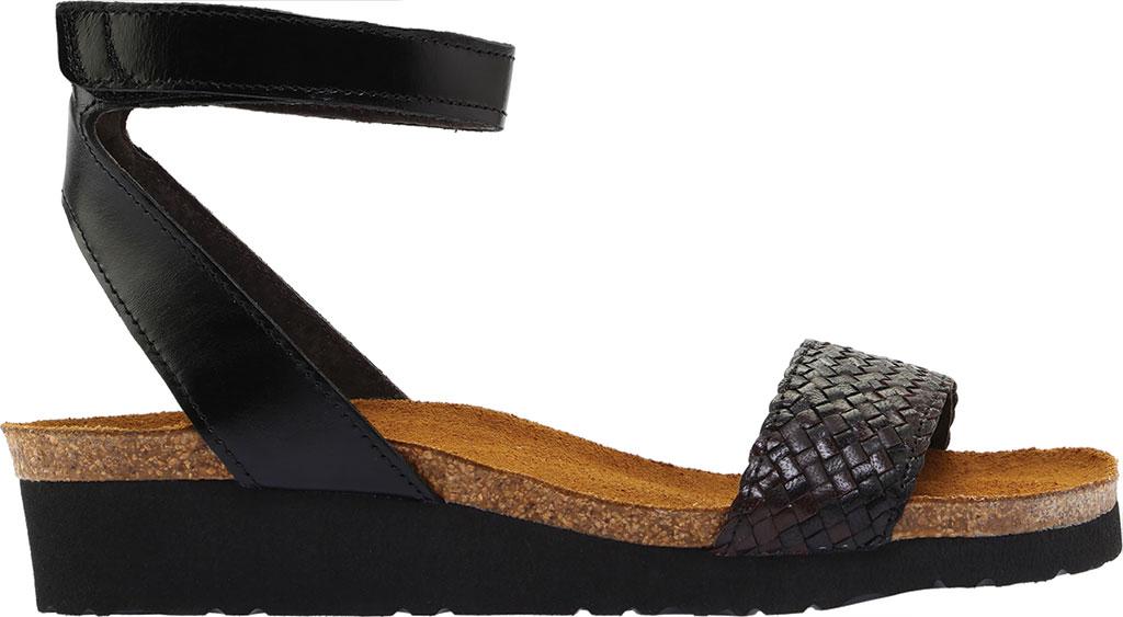 Women's Naot Abbie Ankle Strap Wedge Sandal, Black/Dark Brown Multi Braid/Madras Leather, large, image 2