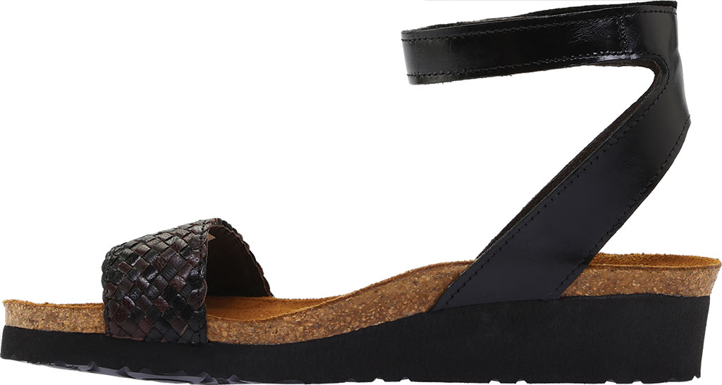 Women's Naot Abbie Ankle Strap Wedge Sandal, Black/Dark Brown Multi Braid/Madras Leather, large, image 3