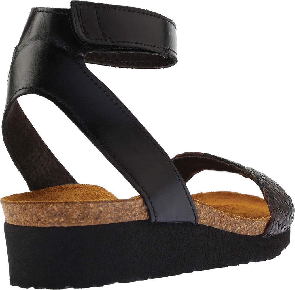 Women's Naot Abbie Ankle Strap Wedge Sandal, Black/Dark Brown Multi Braid/Madras Leather, large, image 4