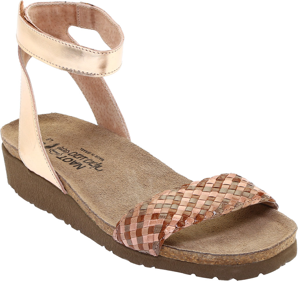 Women's Naot Abbie Ankle Strap Wedge Sandal, Natural Brown Multi Braid/Rose Gold Leather, large, image 1