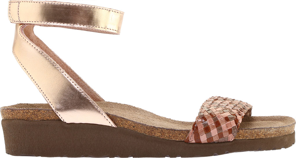 Women's Naot Abbie Ankle Strap Wedge Sandal, Natural Brown Multi Braid/Rose Gold Leather, large, image 2