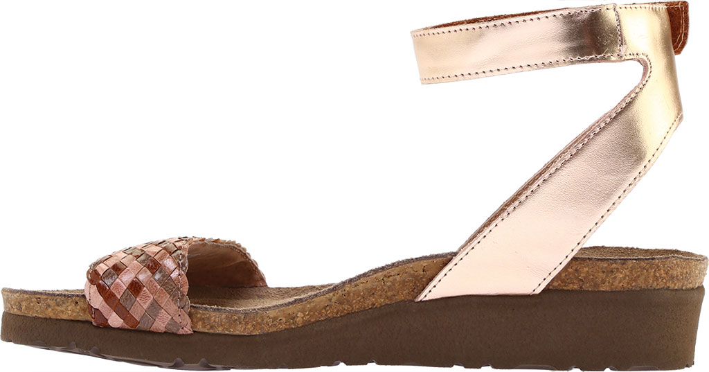 Women's Naot Abbie Ankle Strap Wedge Sandal, Natural Brown Multi Braid/Rose Gold Leather, large, image 3