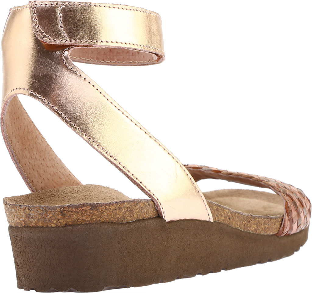 Women's Naot Abbie Ankle Strap Wedge Sandal, Natural Brown Multi Braid/Rose Gold Leather, large, image 4