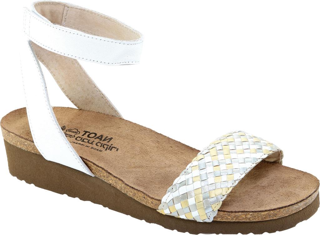 Women's Naot Abbie Ankle Strap Wedge Sandal, White Metallic Multi Braid/White Pearl Leather, large, image 1