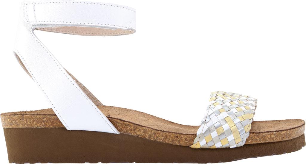 Women's Naot Abbie Ankle Strap Wedge Sandal, White Metallic Multi Braid/White Pearl Leather, large, image 2