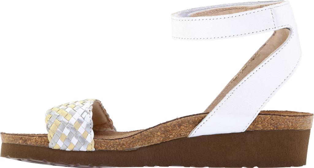 Women's Naot Abbie Ankle Strap Wedge Sandal, White Metallic Multi Braid/White Pearl Leather, large, image 3