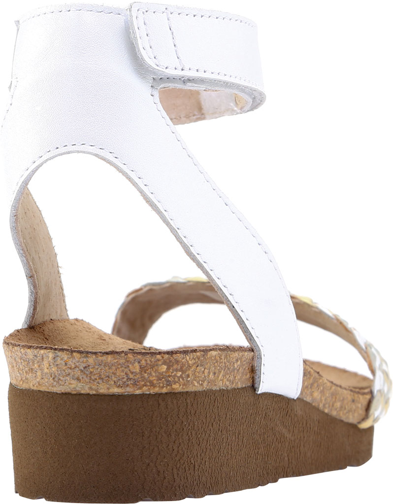 Women's Naot Abbie Ankle Strap Wedge Sandal, White Metallic Multi Braid/White Pearl Leather, large, image 4