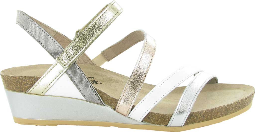 Women's Naot Hero Wedge Strappy Sandal, Soft Metallic/Pearl White Combo Leather, large, image 1