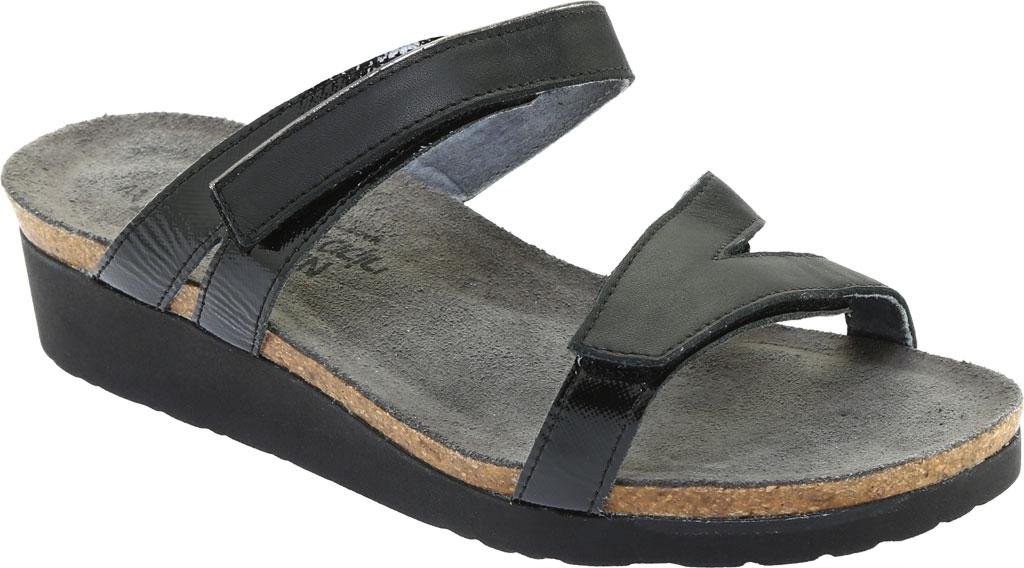 Women's Naot Presley Wedge Slide, Jet Black/Black Luster Leather, large, image 1