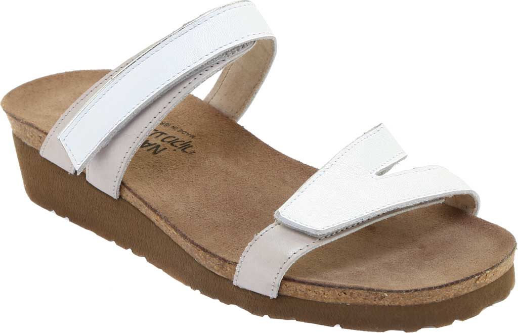 Women's Naot Presley Wedge Slide, White Pearl Leather/Quartz Leather, large, image 1