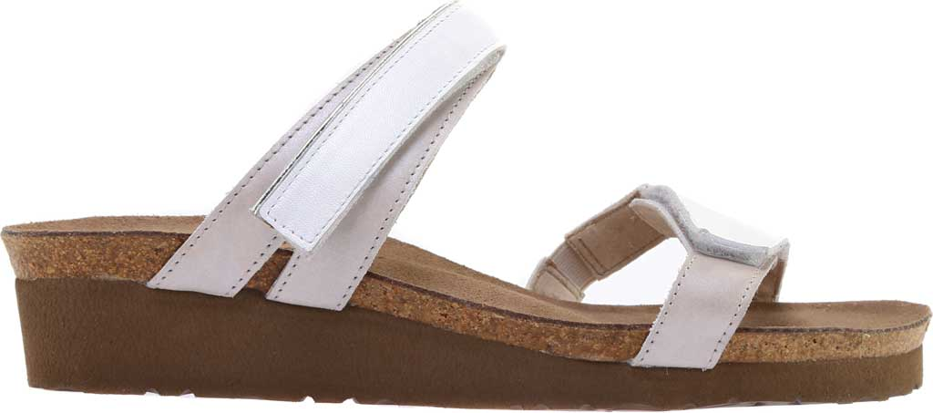 Women's Naot Presley Wedge Slide, White Pearl Leather/Quartz Leather, large, image 2