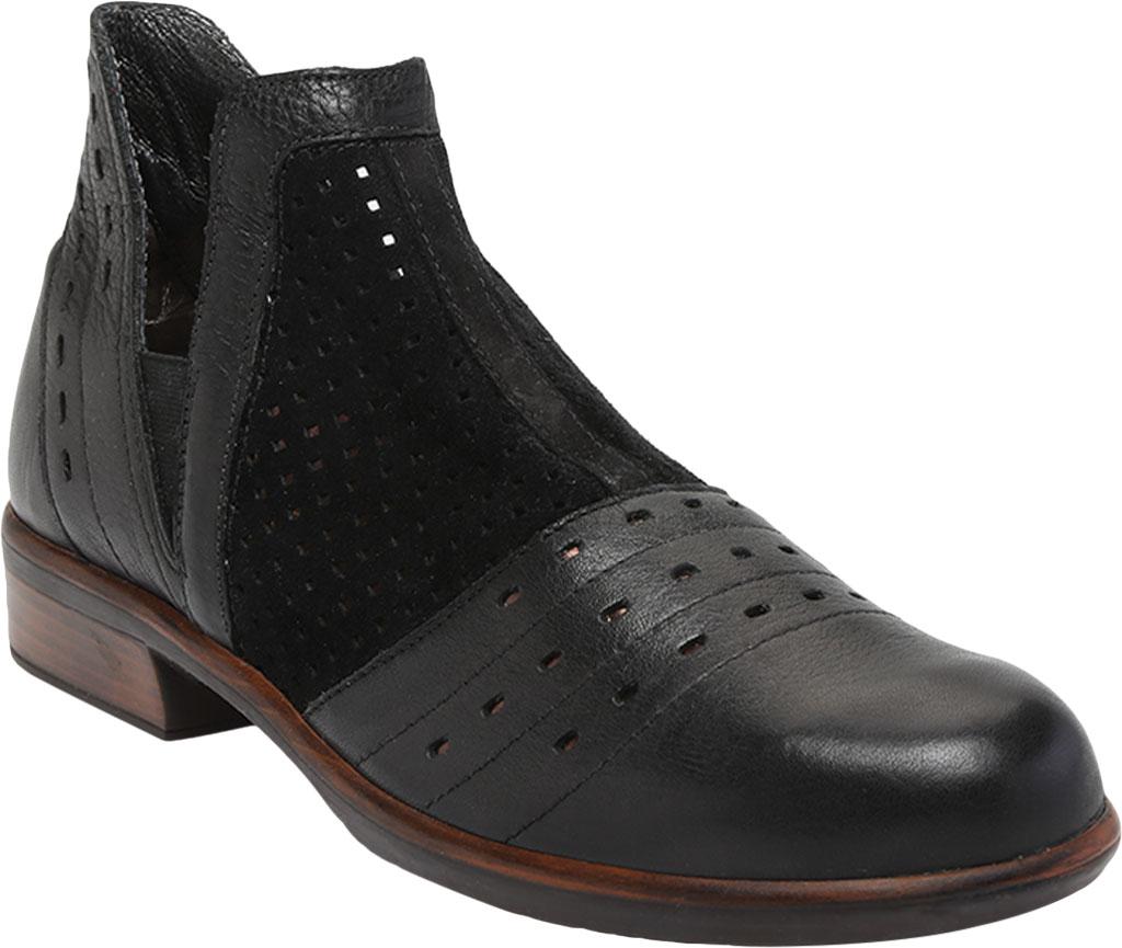 Women's Naot Rivotra Ankle Boot, Black/Soft Black/Brown/Black Velvet Suede/Leather, large, image 1