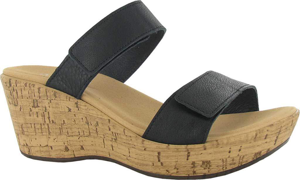 Women's Naot Caveran Wedge Slide, Soft Black Leather, large, image 1