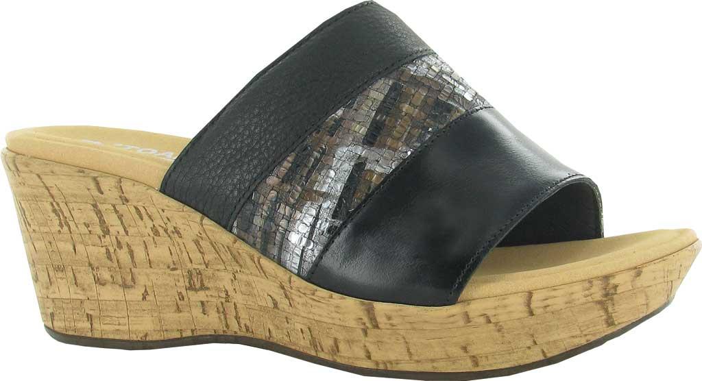 Women's Naot Tiki Wedge Slide, Black Madras/Mixed Metallic/Soft Black Leather, large, image 1