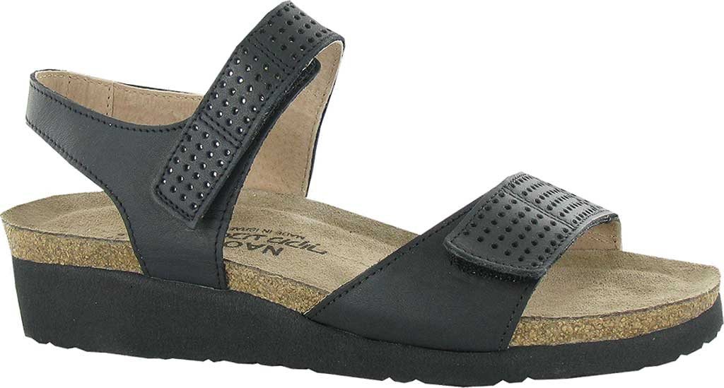 Women's Naot Vivian Wedge Sandal, Jet Black/Silver Leather, large, image 1