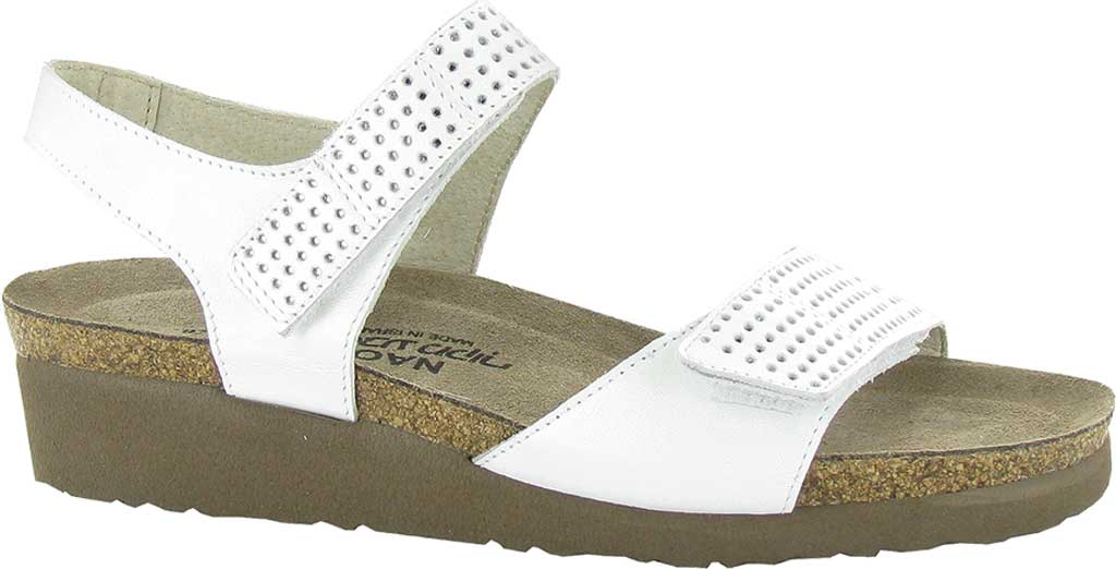Women's Naot Vivian Wedge Sandal, White Pearl/Silver Leather, large, image 1