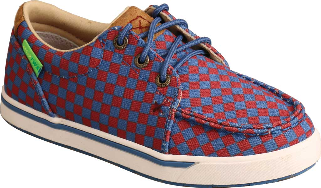 Children's Twisted X YCA0006 Kicks Moc Toe Sneaker, Red/Blue Recycled Fabric, large, image 1