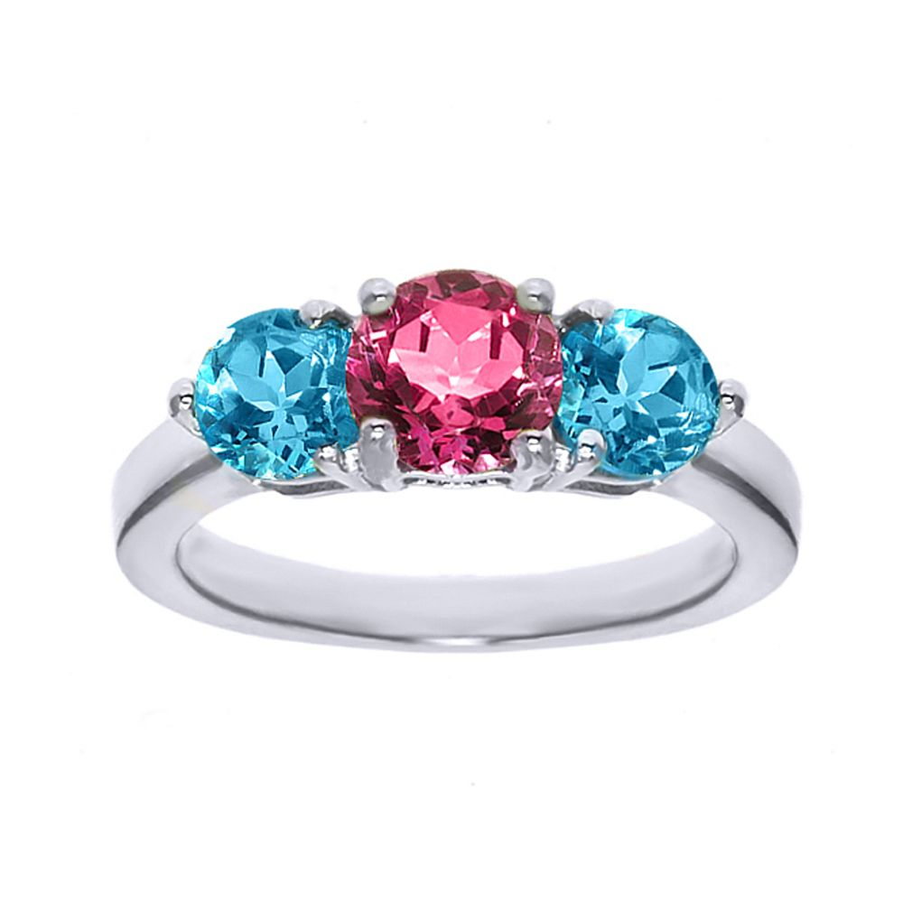 princess engagement three sterling rings cut silver lajerrio white pink sapphire jewelry stone
