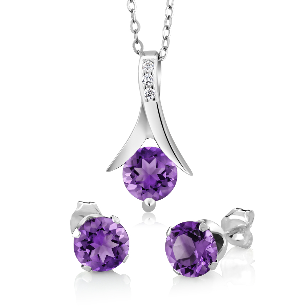 225 Ct Round Purple Amethyst 925 Silver Pendant And Earrings Set 18 Chain