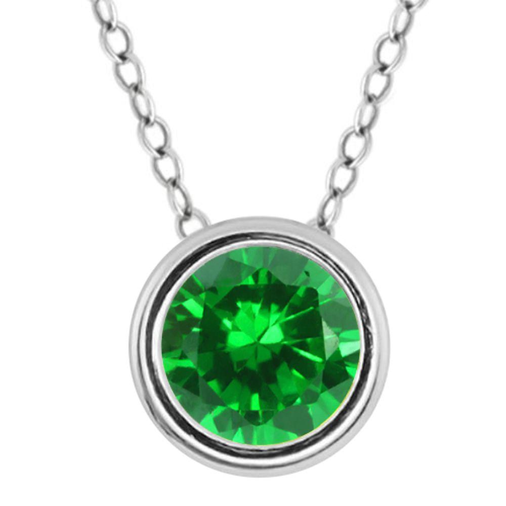 925 silver round cut 6mm bezel set simulated emerald pendant ebay 925 silver round cut 6mm bezel set simulated emerald pendant aloadofball Images