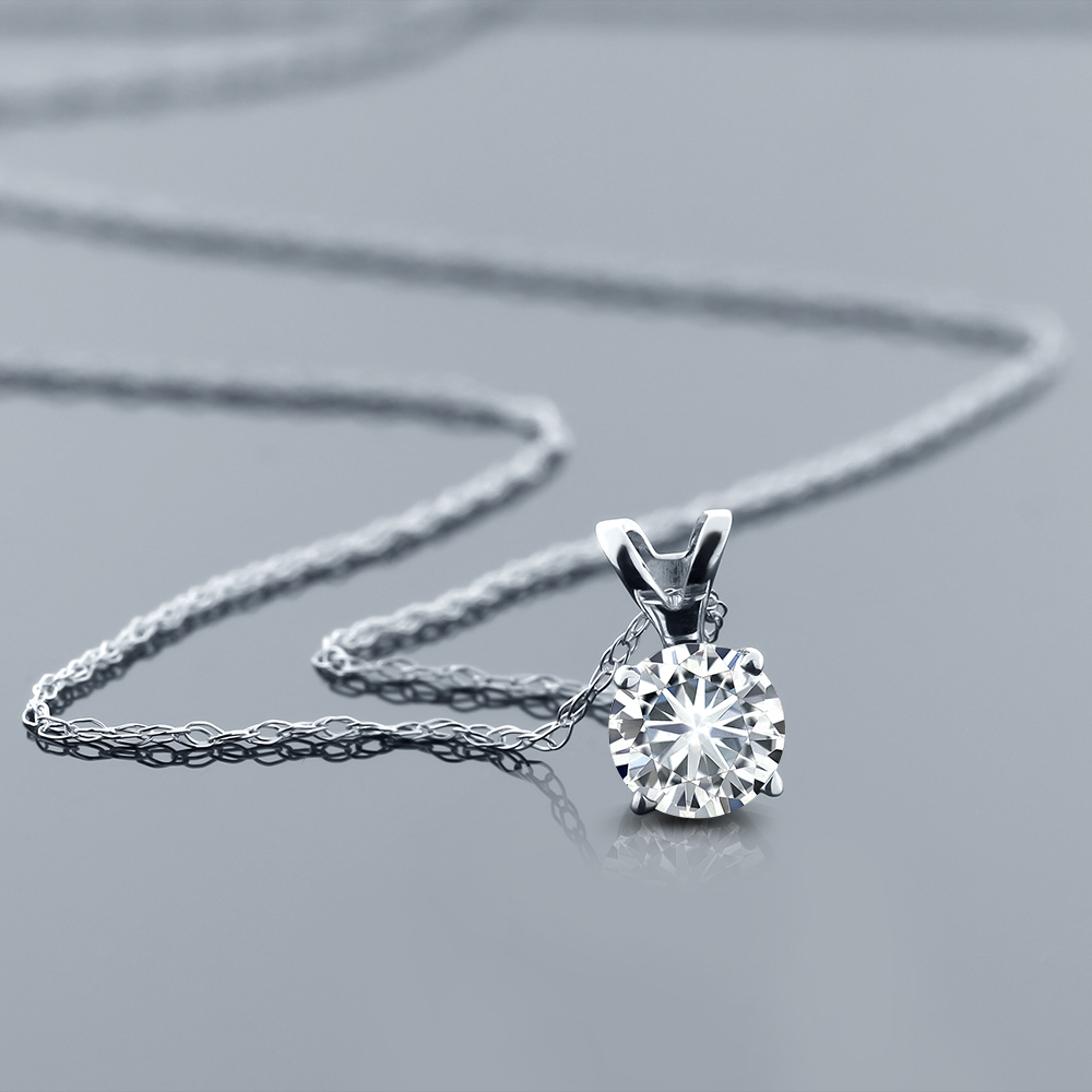 K Gold Diamond Solitaire Necklace