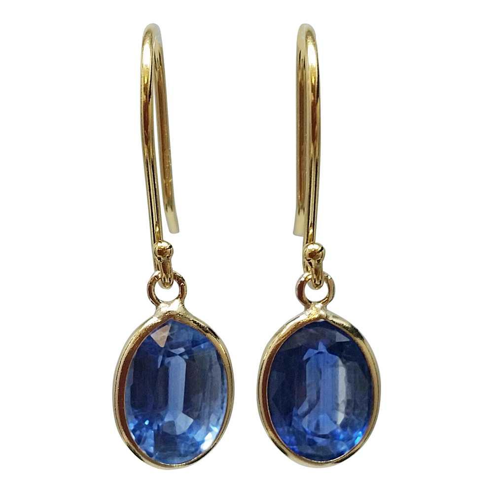 2.00 Ctw Oval Kyanite 14K Yellow Gold Dangle Earrings