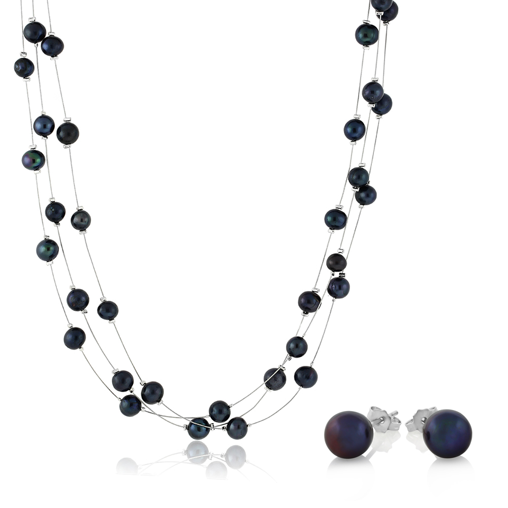 """18"""" Blue 3-String Cultured Freshwater Pearl Necklace"""