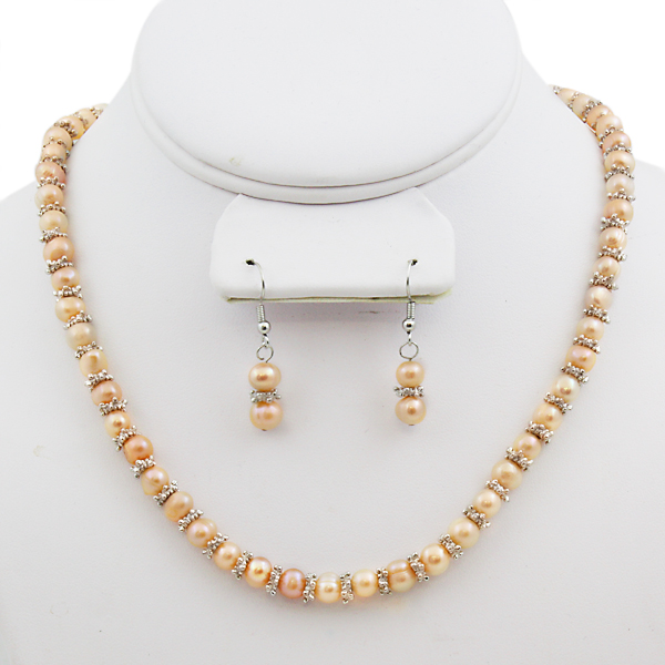 Genuine Peach Cultured Freshwater Pearl Necklace Earrings