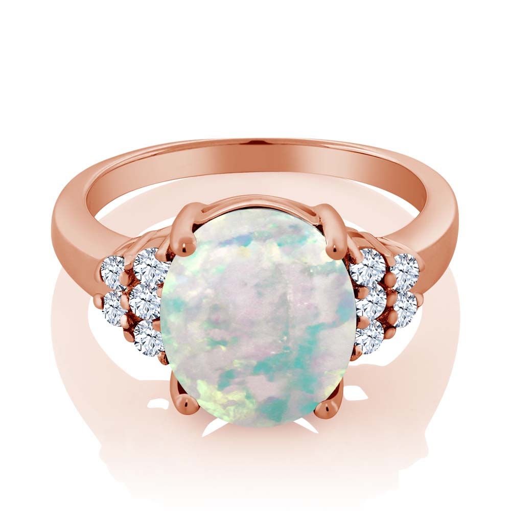 2.32 Ct Oval Cabochon Simulated Opal Sapphire 18K Rose Gold Plated Silver Ring