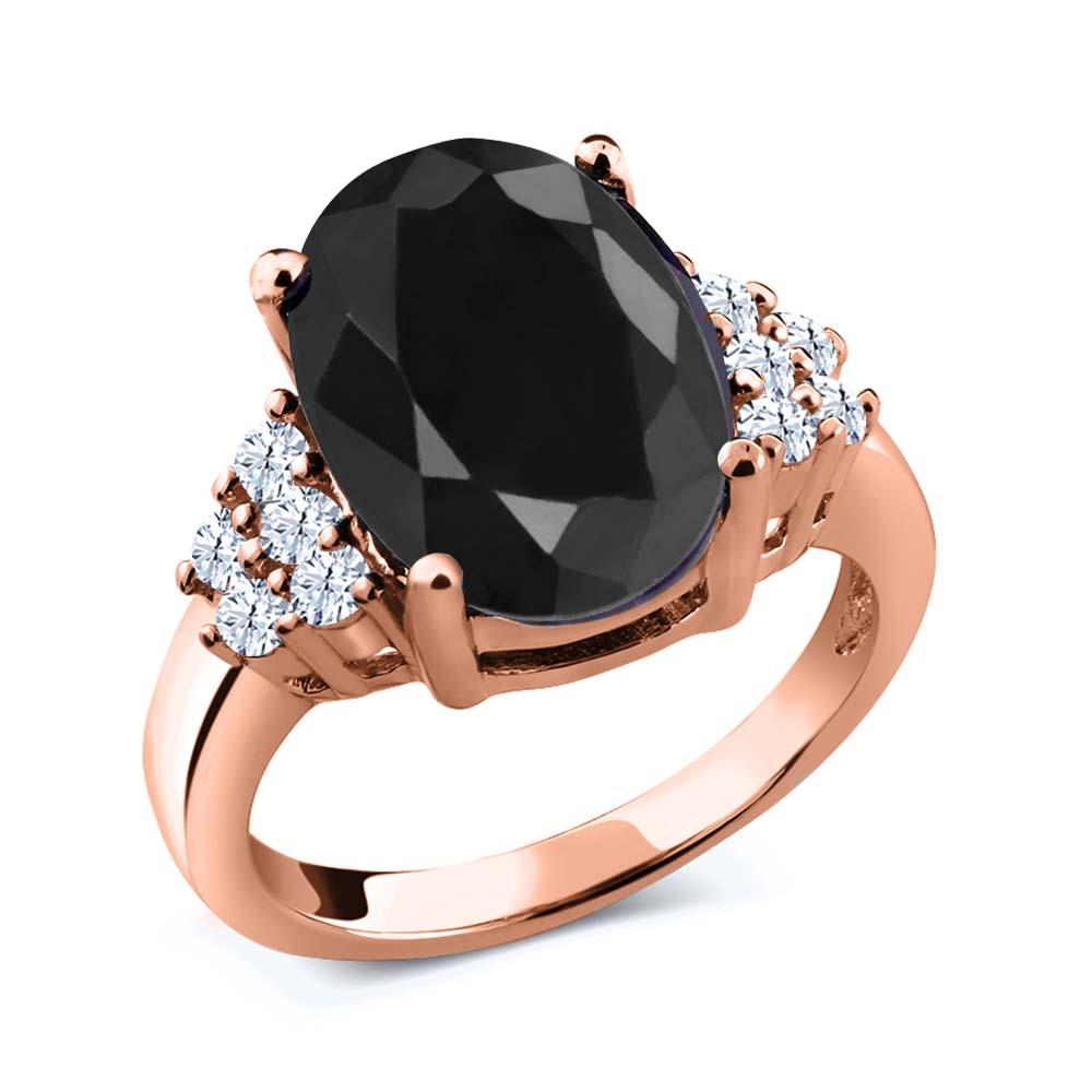 Gem Stone King 0.56 Ct Oval Orange Sapphire Black Diamond 18K Yellow Gold Plated Silver Pendant