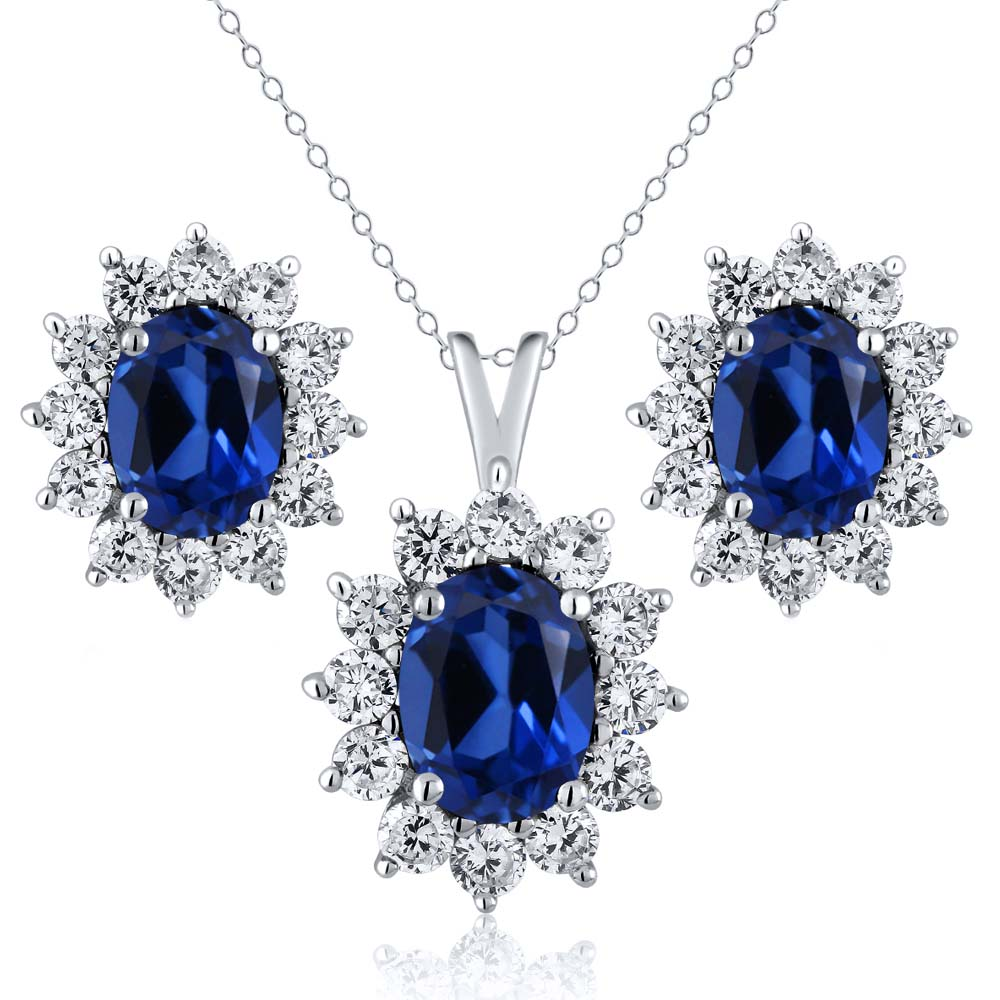 5 24 Ct Oval Simulated Sapphire 925 Sterling Silver