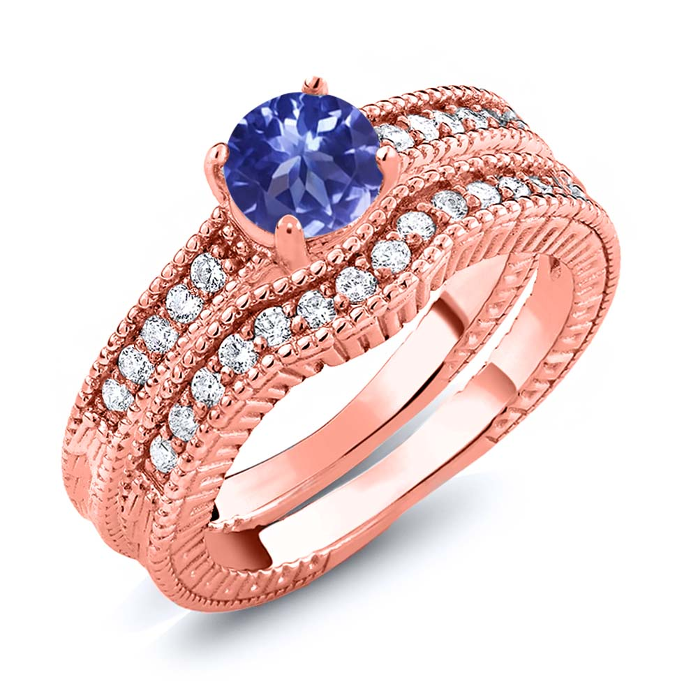 1.15 Ct Round Blue Tanzanite AAA 18K Rose Gold Plated Silver Ring | eBay