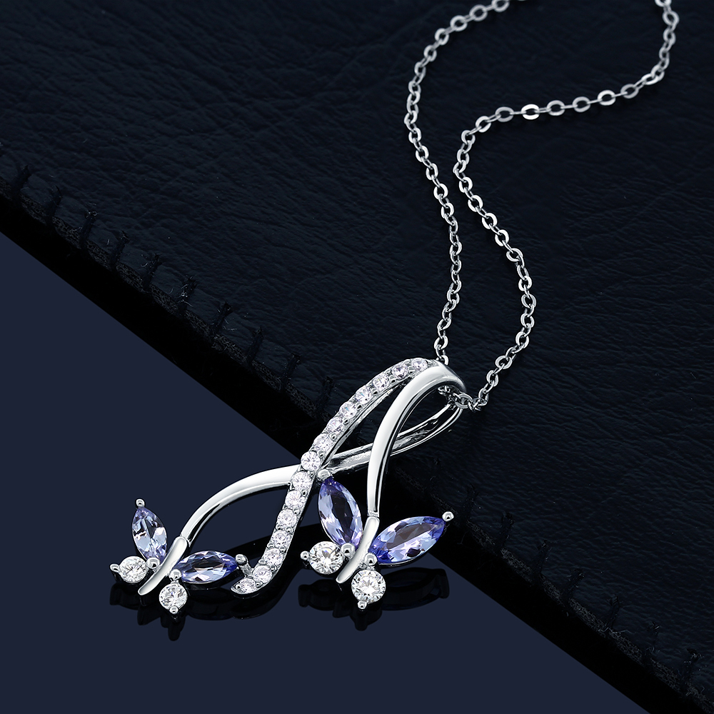 Tanzanite Necklace Tanzanite: 1.21 Ct Marquise Blue Tanzanite 925 Sterling Silver