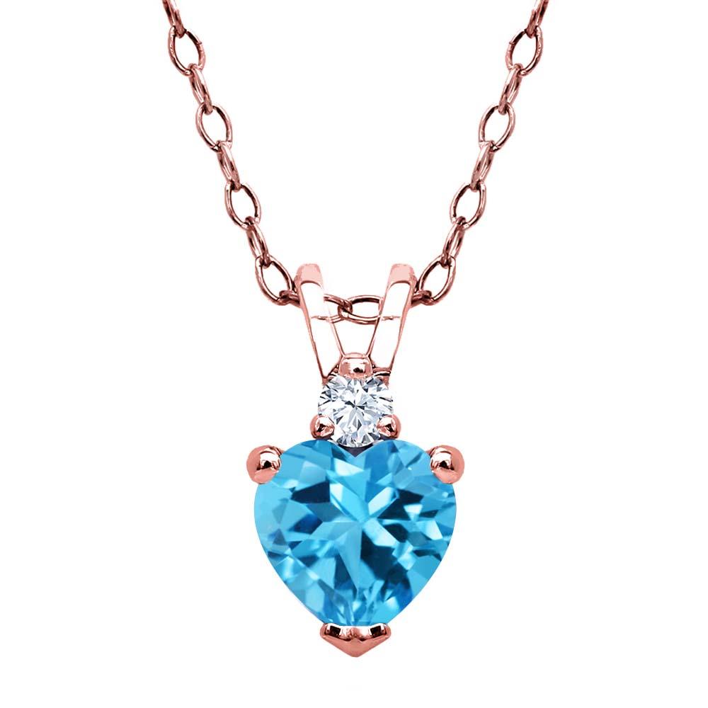 Gem Stone King 0.59 Ct Swiss Blue Topaz White Diamond 18K Yellow Gold Plated Silver Pendant