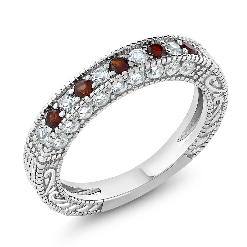 Garnet Bands: 1.00 Ct Garnet And White Created Sapphire 925 Sterling