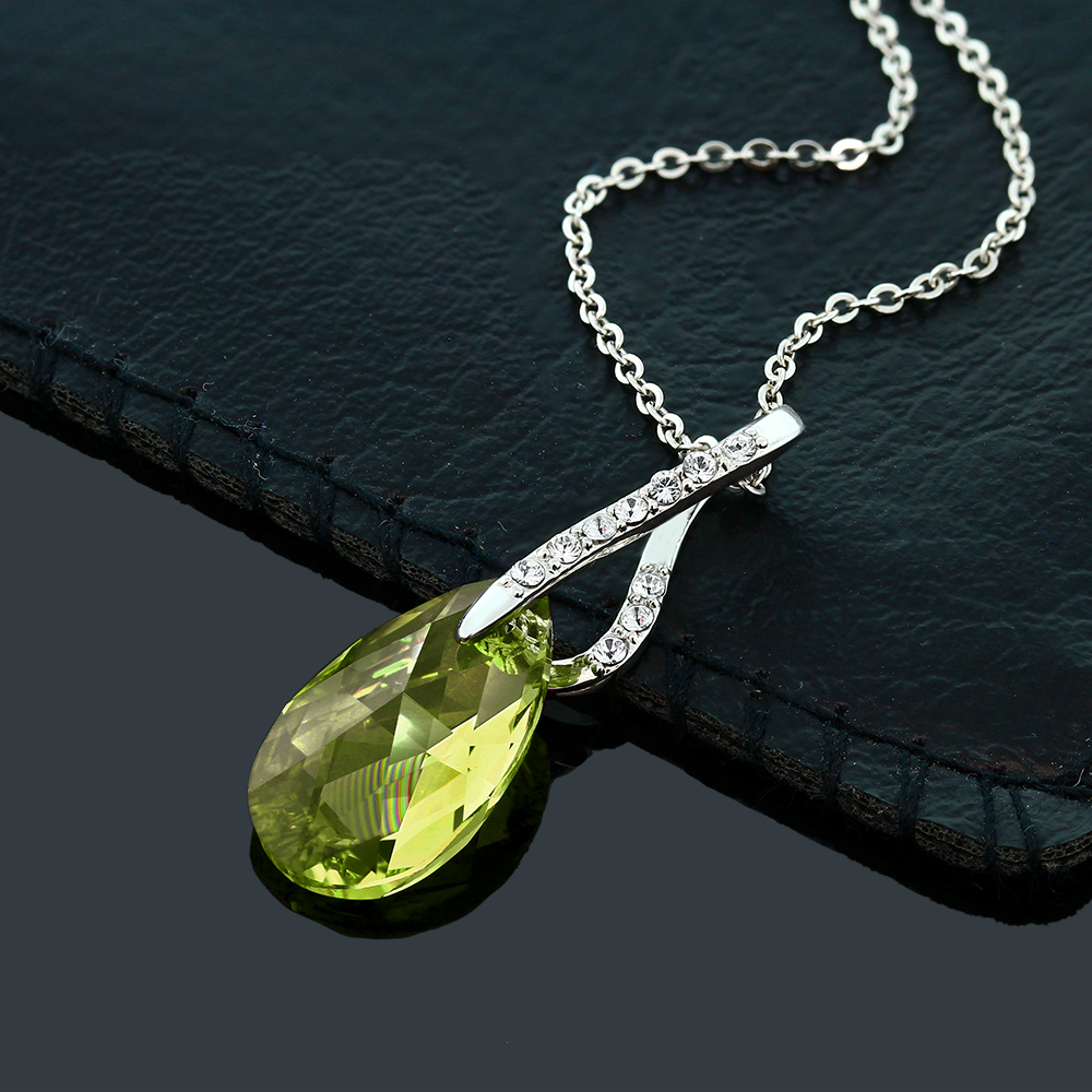 Beautiful-Tear-Drop-Ribbon-Pendant-on-18-034-Chain-Created-with-Swarovski-Crystals
