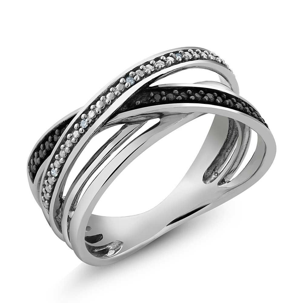 925 sterling silver black white accent diamond crossover. Black Bedroom Furniture Sets. Home Design Ideas