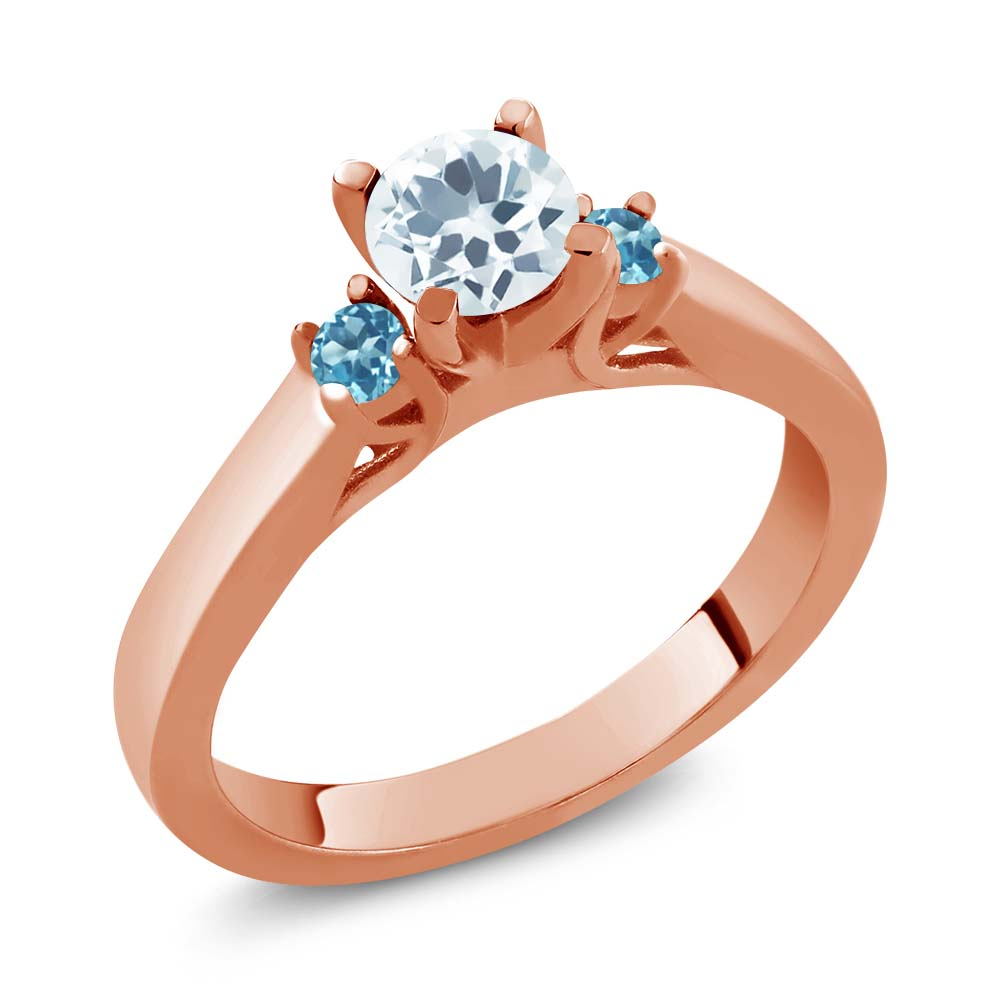 2.10 Ct Oval Sky Blue Aquamarine White Topaz 18K Rose Gold Plated Silver Ring