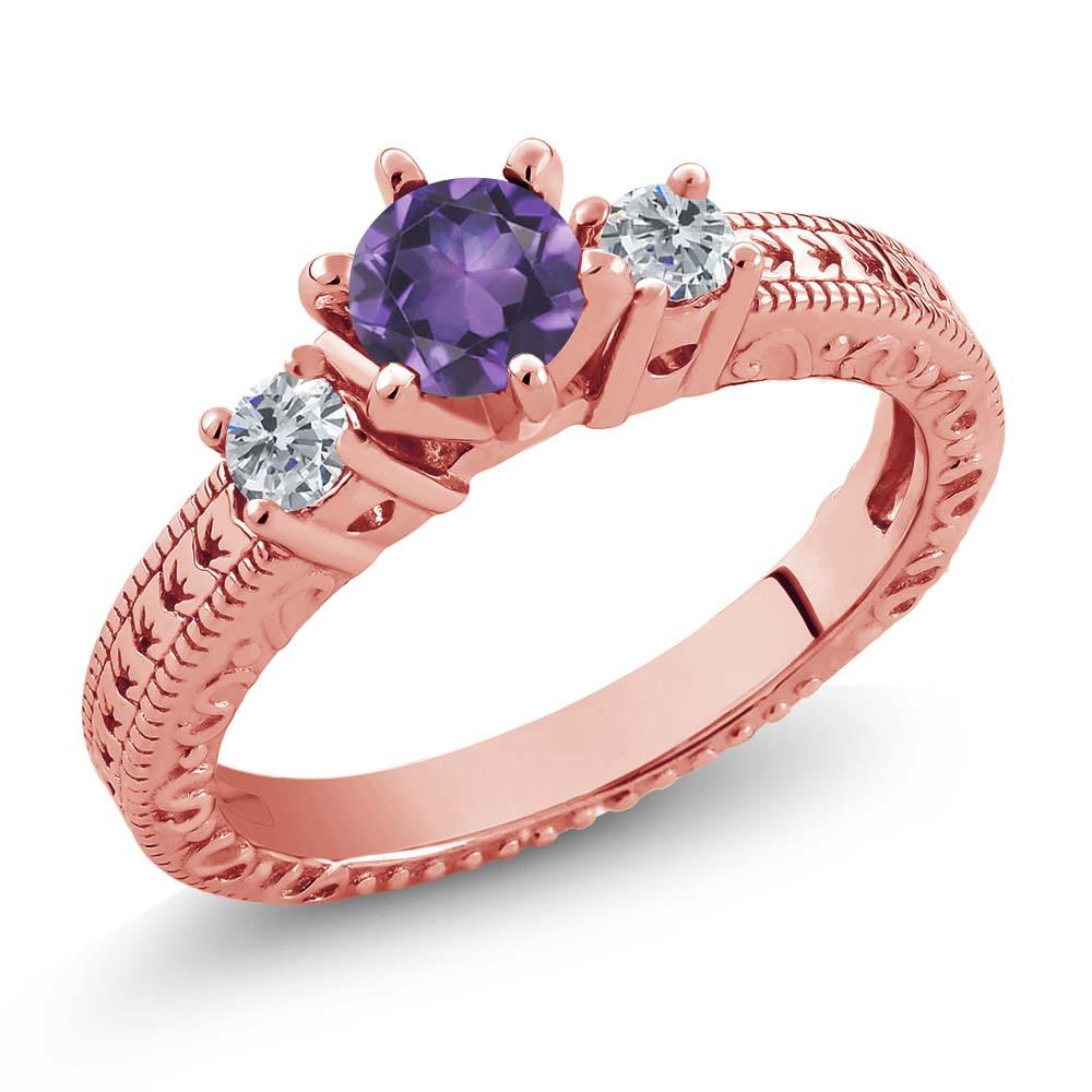 0.69 Ct Purple Amethyst G/H Diamond 18K Rose Gold Plated Silver 3 ...