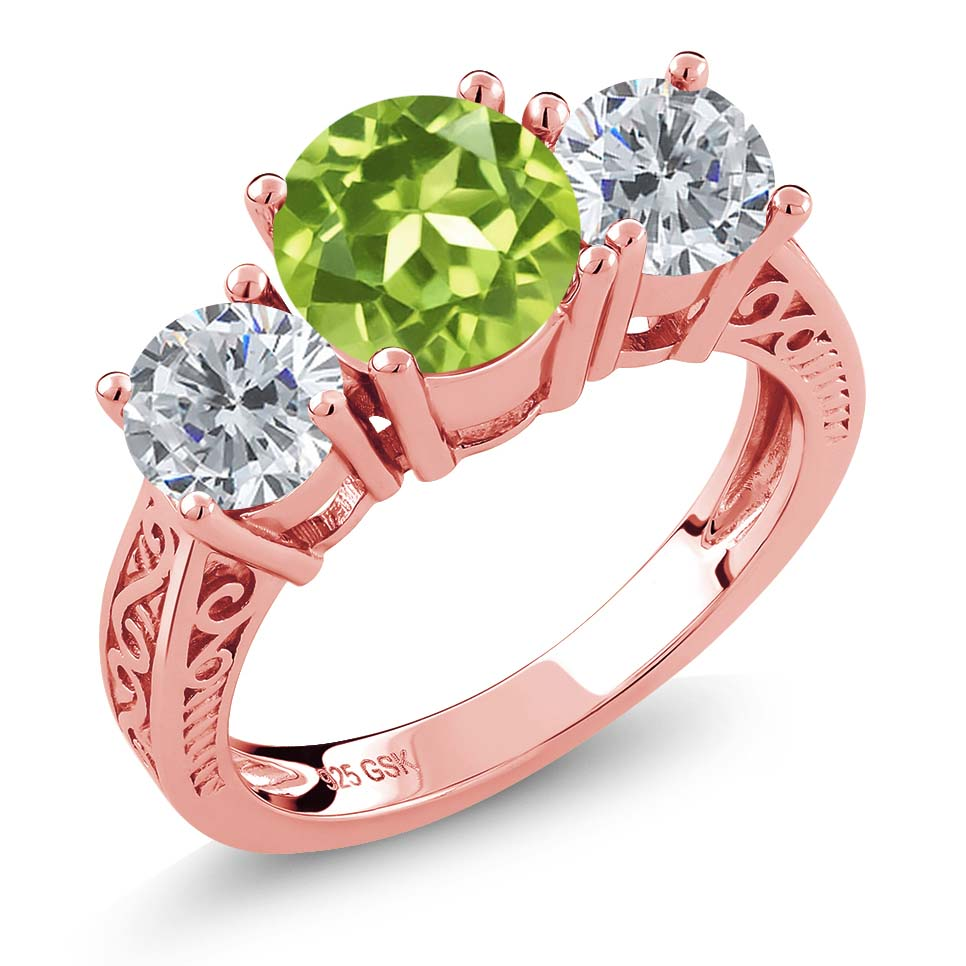 2.35 Ct Round Green Peridot G/H Diamond 18K Rose Gold Plated Silver ...