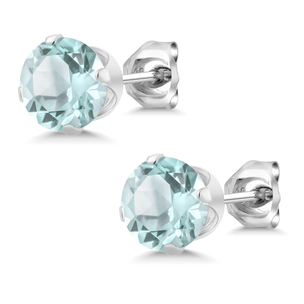 December Birthstone Sky Blue Topaz Round 5mm Stud Earrings 925 Sterling  Silver