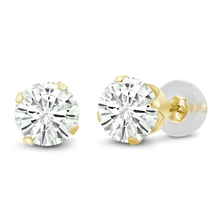 Charles /& Colvard 14K Yellow Gold Earrings Forever Classic Moissanite 1.00ct DEW