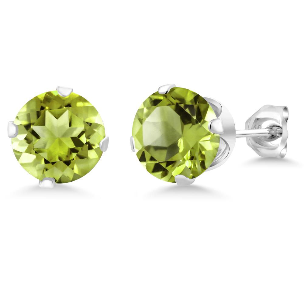 0.60 Ct Round Green Peridot 925 Sterling Silver Earrings
