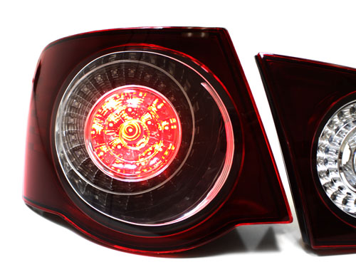 06-09 VW JETTA MK5 EURO LED TAILLIGHTS w// LED INNERS CLEAR DARK RED