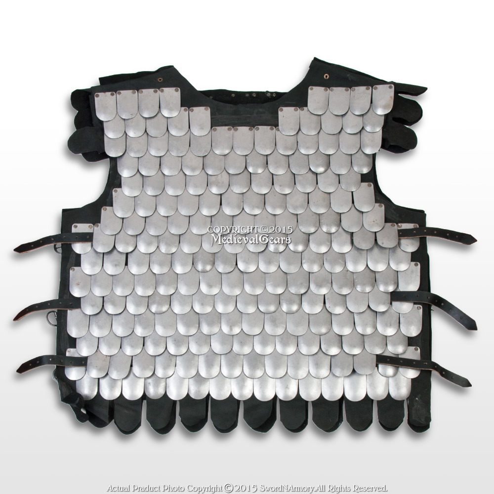 Medieval Scale Body Armor 20G Steel with Leather Liner LARP Costume M//L//XL
