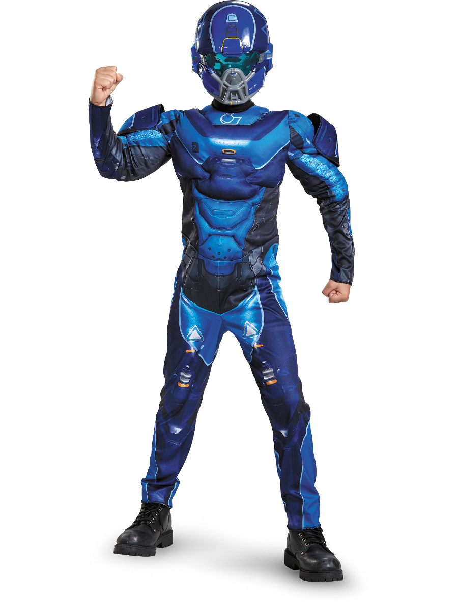 Child S Boys Halo Guardians Nightfall Spartan Iv Blue Armor Costume Ebay